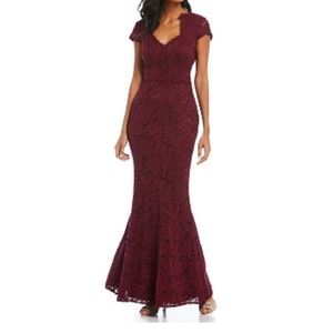 JS Collections Scalloped Lace Cap Sleeve Gown